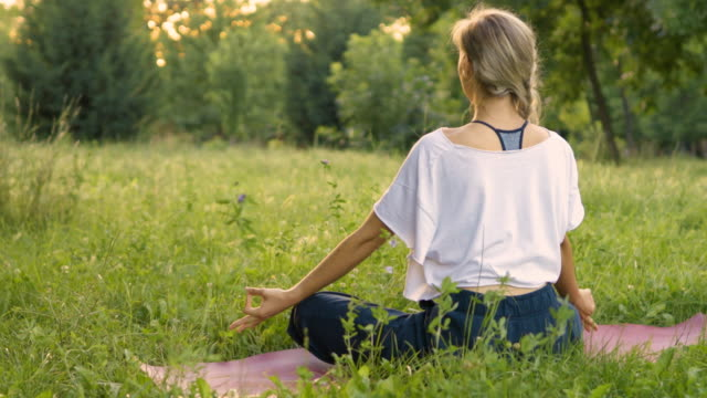 yoga in the park - natural parkland stock videos & royalty-free footage