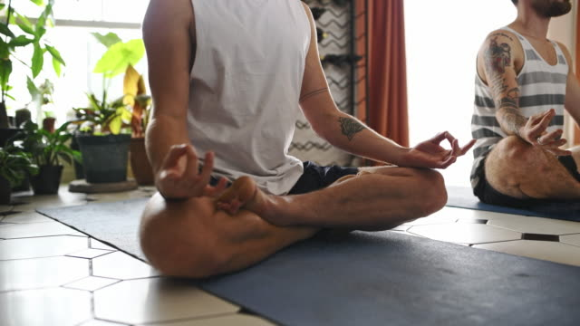 yoga is a journey home - lotus position stock videos & royalty-free footage