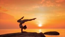Yoga on the beach sunset