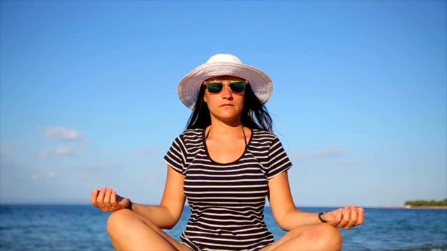 yoga on the beach - balance stock videos & royalty-free footage