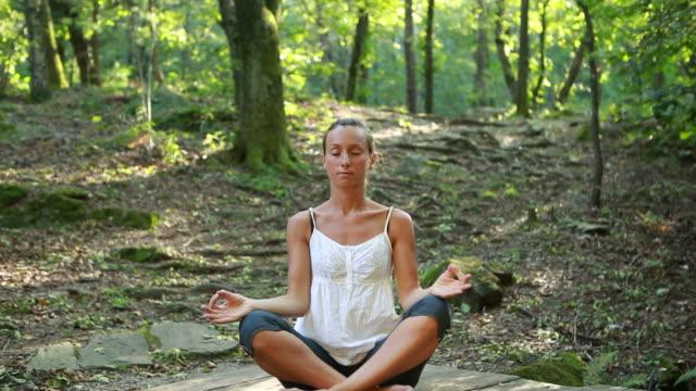 vidéos et rushes de faire du yoga dans la nature - sans mise au point and équilibre