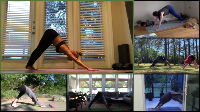yoga practice on a conference call - sun salutation stock videos & royalty-free footage