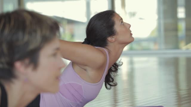 vídeos de stock, filmes e b-roll de ms tu td yoga students practicing yoga in yoga studio / vancouver, british columbia, canada - equilíbrio