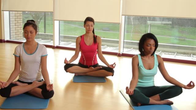 vídeos y material grabado en eventos de stock de yoga students practicing yoga in yoga studio - centro de yoga
