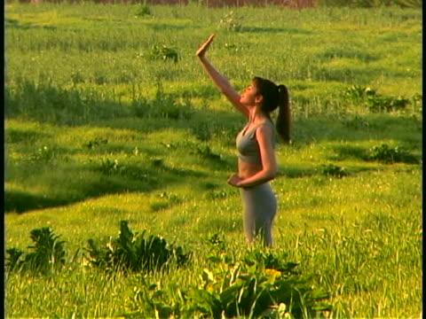 yoga - sun salutation stock videos and b-roll footage