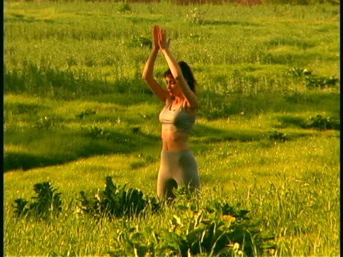 yoga - sun salutation stock videos and b-roll footage