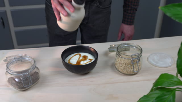 yogurt dessert - maple syrup stock videos & royalty-free footage