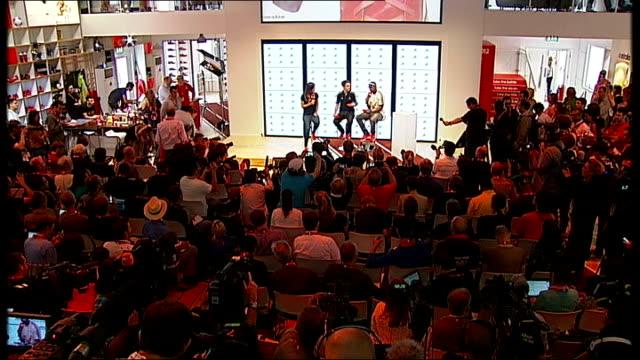 Yohan Blake Adidas press conference ENGLAND London Stratford INT *** WARNING Yohan Blake introduced onto stage SOT / Yohan Blake SOT thanks Adidas...