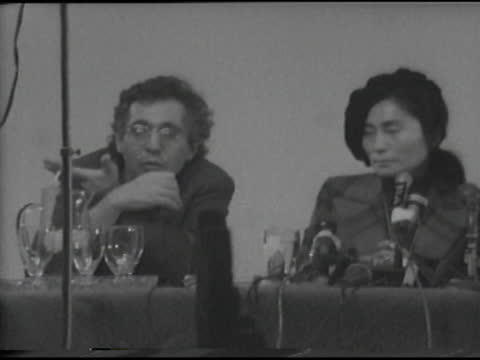 yoko ono and john lennon press conference for the opening of ono's first museum show, this is not here, featuring work by her, john lennon and other... - curator stock videos & royalty-free footage