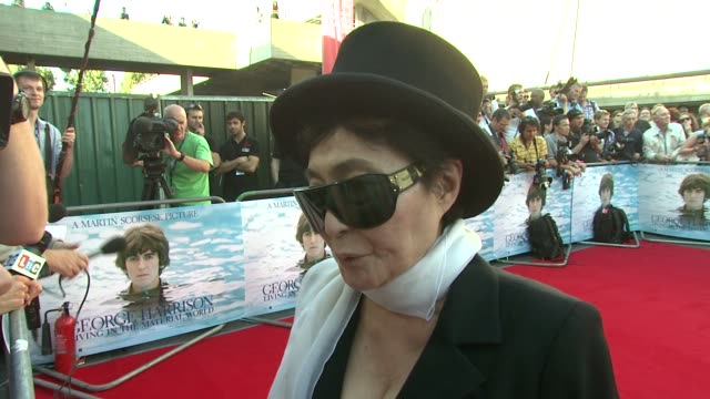 Yoko Ono on George Harrison and the Beatles at the George Harrison Living In The Material World UK Premiere at London England