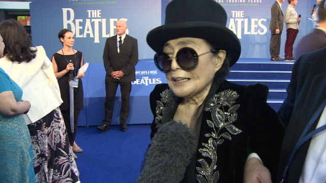 """yoko ono saying that john lennon would have been """"tickled"""" by the huge turnout for the premiere of the beatles film 'eight days a week' and that they... - number 9 video stock e b–roll"""