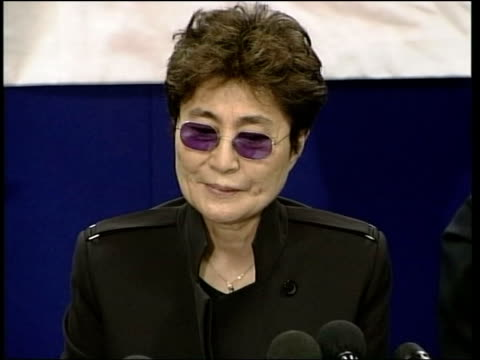 Yoko Ono visits Liverpool airport ITN Liverpool Speke Airport Yoko Ono along to take press conference seat GV press conference CMS Yoko GV conference...