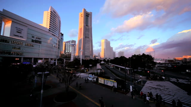 yokohama at dusk - plusphoto stock videos & royalty-free footage
