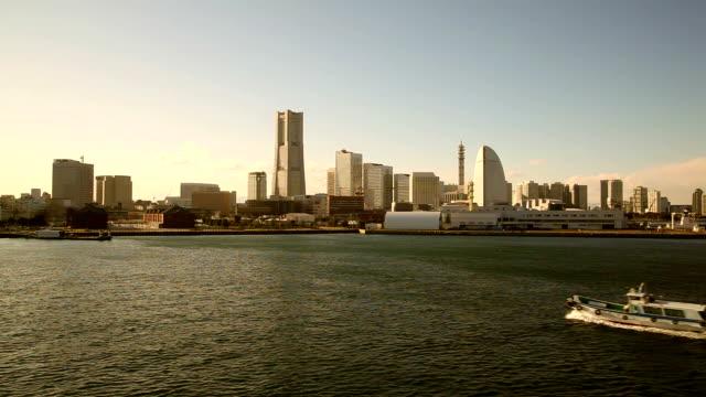 yokohama, japan at sunset. - yokohama stock videos and b-roll footage