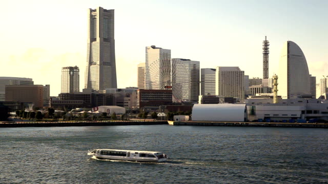 yokohama, japan at sunset. - plusphoto stock videos & royalty-free footage