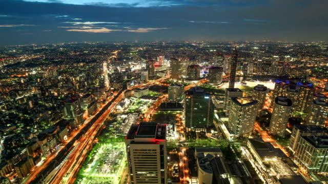 yokohama japan time lapse at night (panning) - yokohama stock videos and b-roll footage