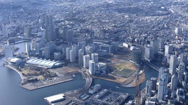 aerial, yokohama minato mirai 21, japan - yokohama stock videos and b-roll footage