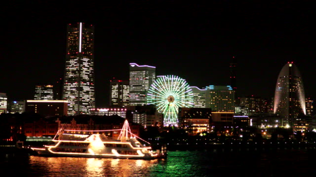 yokohama night view - passenger ship stock videos & royalty-free footage