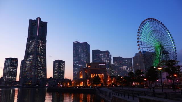 yokohama night view - dusk to night stock videos & royalty-free footage