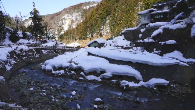 Yokoyu River runs among the snowy mountains from Jigokudani Snow Monkey Park (JIgokudani-YaenKoen) at Nagano Japan on Feb. 17 2019.