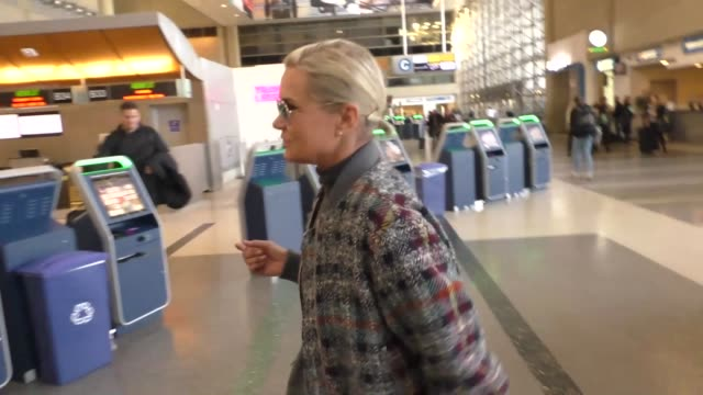 INTERVIEW – Yolanda Foster aka Yolanda Hadid talks about going to see Gigi Hadid Bella Hadid modeling in Paris while departing at LAX Airport in Los...