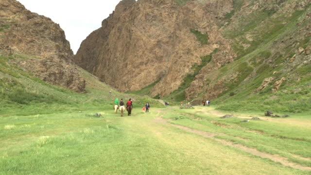vídeos de stock, filmes e b-roll de yolyn am is a deep and narrow gorge in the gurvan saikhan mountains of southern mongolia. - montar um animal