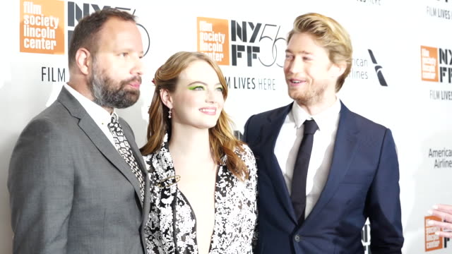 Yorgos Lanthimos Emma Stone and Joe Alwyn at The Favourite New York Premiere NYFF56 Opening Night Gala Presentation Presented By Fox Searchlight at...