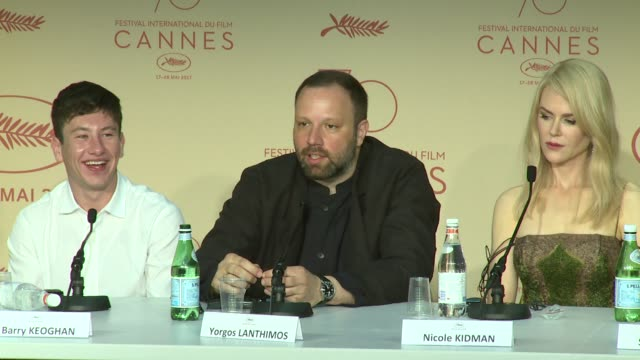 interview yorgos lanthmos on casting and the ultimate family like team at palais des festivals on may 22 2017 in cannes france - deer family stock videos and b-roll footage