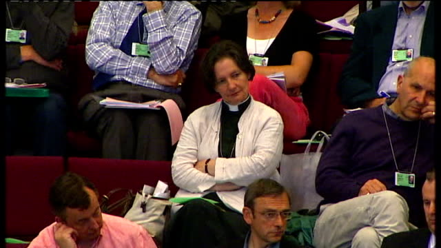 members of the church of england general synod at meeting to discuss ordination of women bishops, including reverend vivienne faull reverend vivienne... - synod stock videos & royalty-free footage