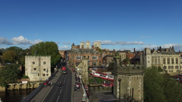 york lendal bridge and river ouse elevated view - river ouse stock videos & royalty-free footage