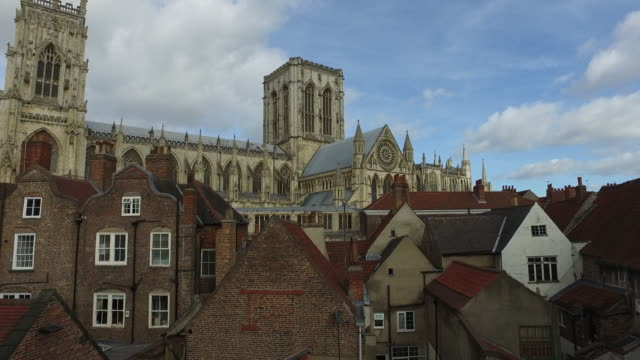 4K York Medieval Rooftops and York Minster Cathedral