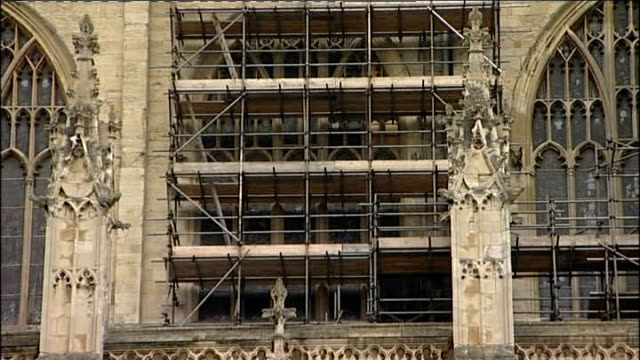 york minster stained glass windows england york york minster ext various general views of york minster with some sections surrounded by scaffolding/... - rose window stock videos and b-roll footage