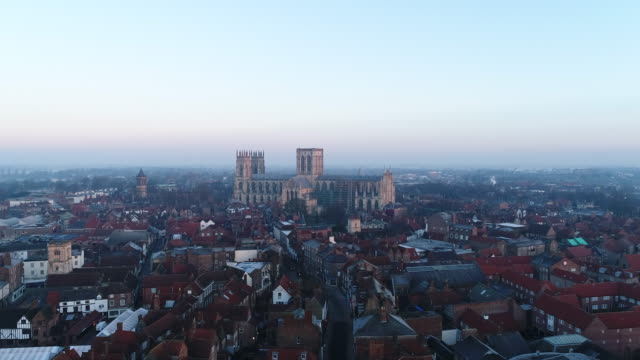 York Minster Tracking Over Medieval Rooftops