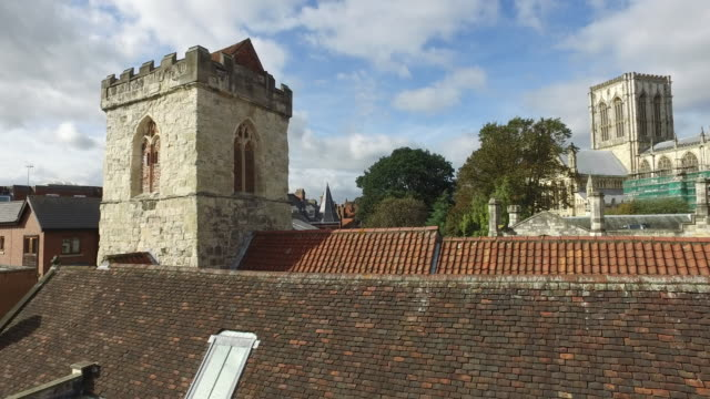 4K York Roofs Holy Trinity Church Left to Right Pan