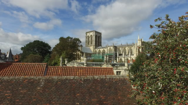 4K York Roofs Holy Trinity Church Right to Left Pan