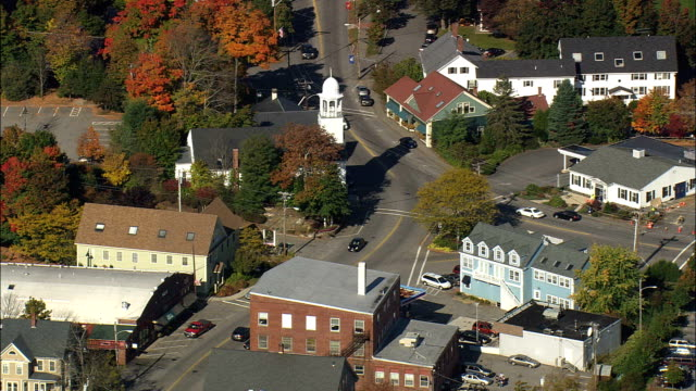 york village - aerial view - maine,  york county,  united states - maine stock videos & royalty-free footage