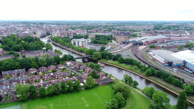 York with Train Station Over River Ouse 4K Aerial Video
