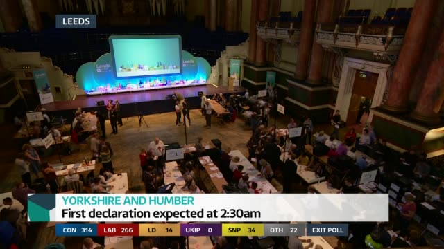 special 2155 2300 yorkshire leeds vote count underway - general election stock videos & royalty-free footage