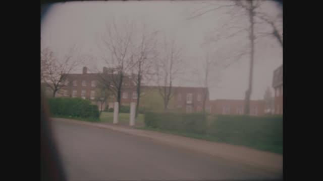 yorkshire ripper trial; england: london: park lane' road sign track past hospital new hospital - site entrance all traffic' gv hospital - yorkshire stock-videos und b-roll-filmmaterial