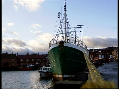 yorkshire scarborough gvs fishing trawlers moored in harbour trawler crew member along on dockside trawler ships pan seagull - 英国スカーブラ点の映像素材/bロール