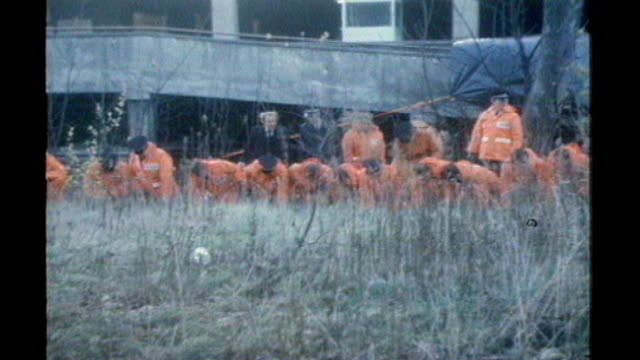 sheffield police photographer along on waste ground line of police officers in orange suits engaged in forensic evidence search where 'ripper' victim... - yorkshire stock-videos und b-roll-filmmaterial