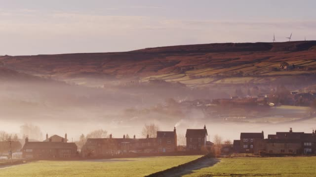 Yorkshire Village on Foggy Morning - Drone Shot