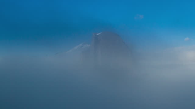 yosemite national park half dome in low clouds - half dome stock videos & royalty-free footage