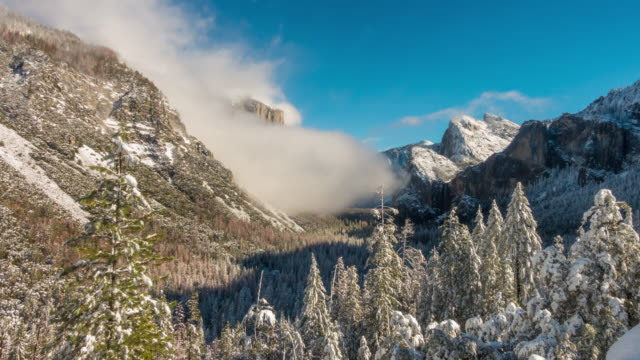 yosemite national park in winter california usa - yosemite national park stock videos & royalty-free footage