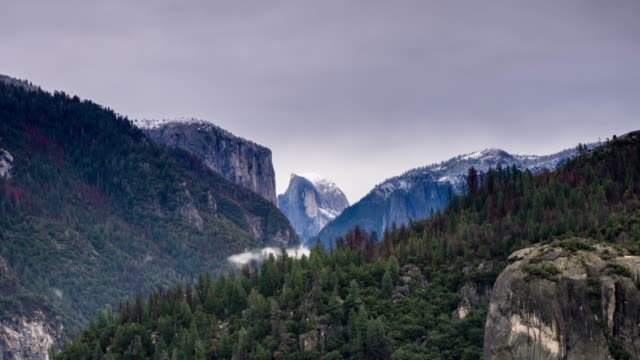 yosemite national park in winter - time lapse - national landmark stock videos & royalty-free footage