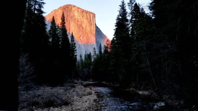 yosemite national park sunset: el capitan - river merced stock videos & royalty-free footage