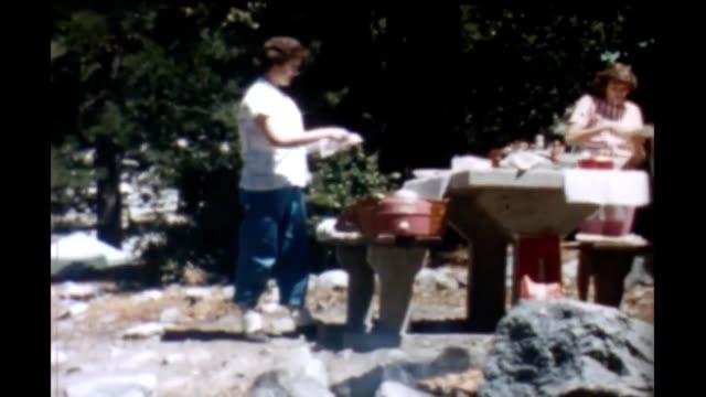 1965 yosemite picnic site - white shirt stock videos & royalty-free footage