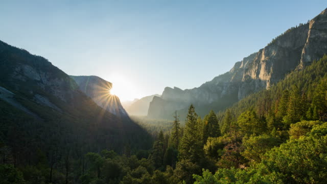 yosemite sunrise timelapse - mountain range stock videos & royalty-free footage