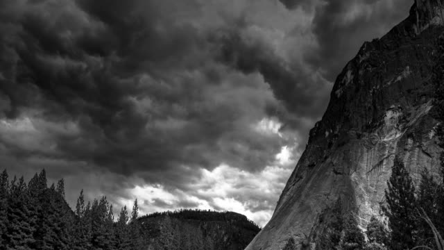 yosemite valley storm - time lapse - californian sierra nevada stock videos and b-roll footage