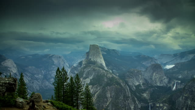 yosemite valley storm - time lapse - yosemite national park stock videos and b-roll footage